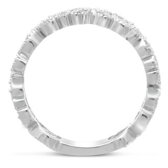 1/5ct Floral Wedding Band Crafted In Solid 14K White Gold