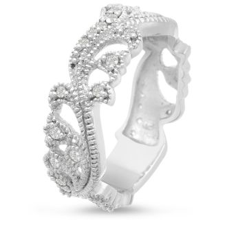 1/3ct Floral Wedding Band Crafted In Solid 14K White Gold