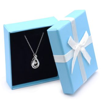 """Shimmering Stars Diamond Teardrop Necklace With 18"""" Free Chain."""