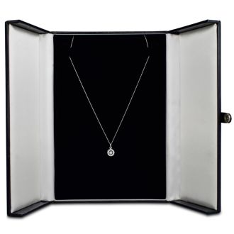 Shimmering Stars Collection 1/4ct Halo Diamond Necklace In White Gold, 18 inches, Floating Diamond