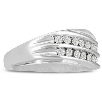 Men's 1/2ct Diamond Ring In 10K White Gold, I-J-K, I1-I2