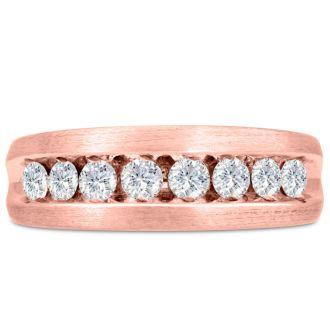 Men's 1ct Diamond Ring In 10K Rose Gold, I-J-K, I1-I2