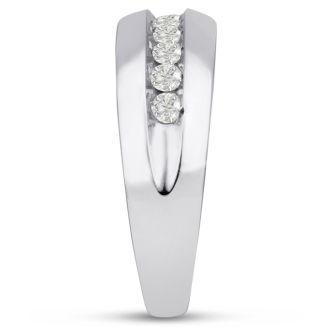 Men's 1/2ct Diamond Ring In 14K White Gold, I-J-K, I1-I2