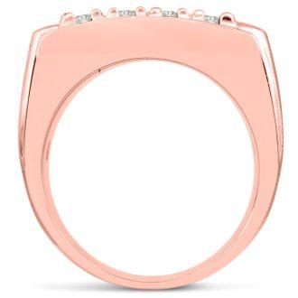 Men's 2ct Diamond Ring In 10K Rose Gold, G-H, I2-I3