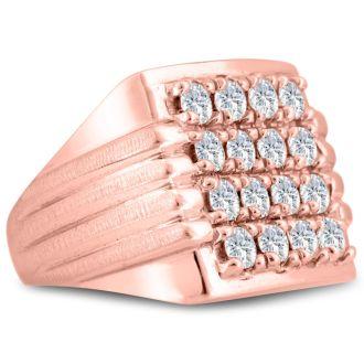 Men's 2ct Diamond Ring In 14K Rose Gold, G-H, I2-I3