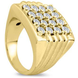 Men's 2ct Diamond Ring In 14K Yellow Gold, G-H, I2-I3