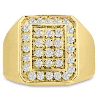 Men's 1ct Diamond Ring In 14K Yellow Gold, I-J-K, I1-I2