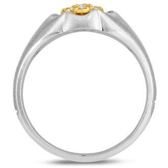 Men's 1/4ct Diamond Ring In 14K Two-Tone Gold, G-H, I2-I3