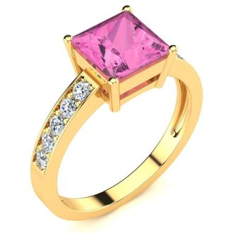 Square Step Cut 1 7/8 Carat Pink Topaz and Diamond Ring in 14K Yellow Gold