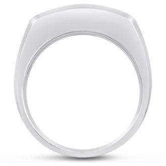 Men's 3/4ct Diamond Ring In 14K White Gold, I-J-K, I1-I2