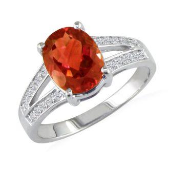 Split Band 2ct Garnet and .15ct Diamond Ring, 14k White Gold