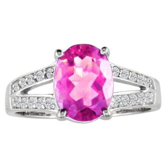 Split Band 1 1/2ct Pink Topaz and .15ct Diamond Ring, 14k White Gold