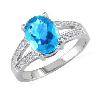 Split Band 2 1/4ct Blue Topaz and 1/5ct Diamond Ring, 14k White Gold