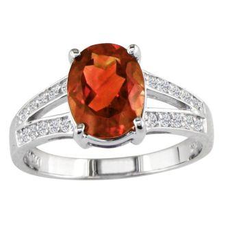 Split Band 2 1/4ct Garnet and 1/5ct Diamond Ring, 14k White Gold