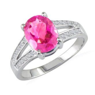 Split Band 2 1/4ct Pink Topaz and 1/5ct Diamond Ring, 14k White Gold