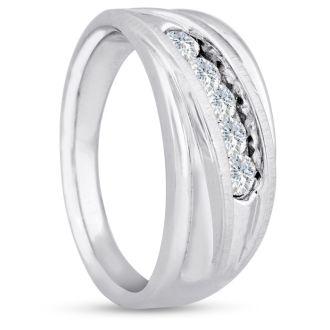 Men's 3/5ct Diamond Ring In 10K White Gold, G-H, I2-I3