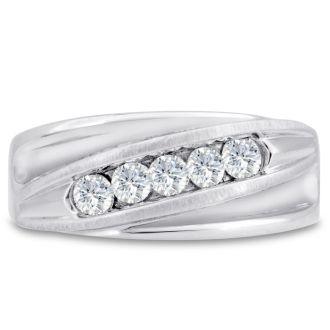 Men's 3/5ct Diamond Ring In 10K White Gold, I-J-K, I1-I2