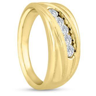 Men's 3/5ct Diamond Ring In 14K Yellow Gold, I-J-K, I1-I2