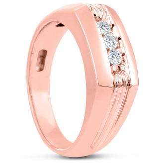 Men's 1/4ct Diamond Ring In 14K Rose Gold, G-H, I2-I3
