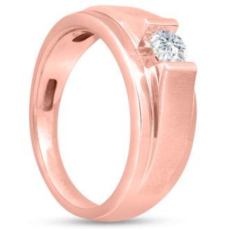 Men's 1/3ct Diamond Ring In 10K Rose Gold, I-J-K, I1-I2
