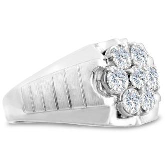 Men's 1 3/4ct Diamond Ring In 10K White Gold, I-J-K, I1-I2
