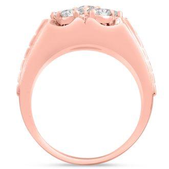 Men's 1 3/4ct Diamond Ring In 14K Rose Gold, G-H, I2-I3