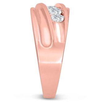 Men's 1ct Diamond Ring In 10K Rose Gold, G-H, I2-I3