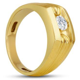Men's 1/2ct Diamond Ring In 14K Yellow Gold, I-J-K, I1-I2