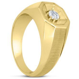 Men's 1/4ct Diamond Ring In 10K Yellow Gold, I-J-K, I1-I2