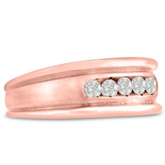 Men's 1/2ct Diamond Ring In 10K Rose Gold, G-H, I2-I3