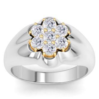 Men's 1ct Diamond Ring In 10K Two-Tone Gold, G-H, I2-I3