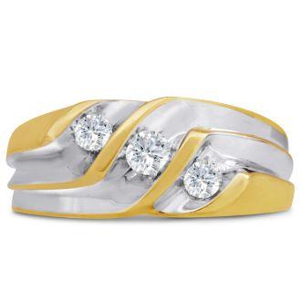 Men's 1/2ct Diamond Ring In 10K Two-Tone Gold, I-J-K, I1-I2