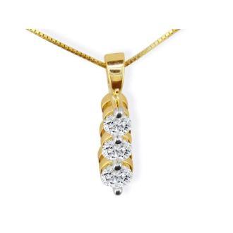1 1/2ct Three Diamond Drop Style Diamond Pendant In 14k Yellow Gold