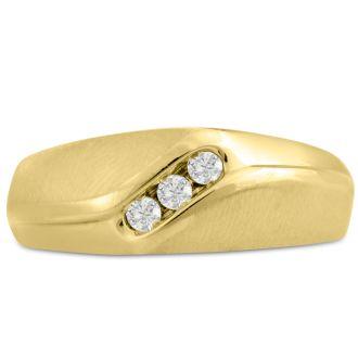 Men's 1/10ct Diamond Ring In 14K Yellow Gold, I-J-K, I1-I2