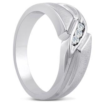 Men's 1/10ct Diamond Ring In 10K White Gold, G-H, I2-I3