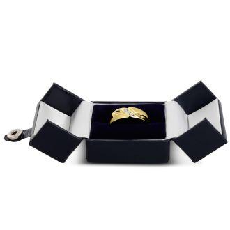 Men's 1/10ct Diamond Ring In 10K Yellow Gold, I-J-K, I1-I2
