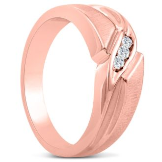Men's 1/10ct Diamond Ring In 14K Rose Gold, G-H, I2-I3
