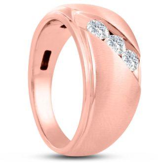 Men's 1/2ct Diamond Ring In 14K Rose Gold, I-J-K, I1-I2