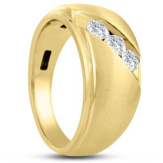 Men's 1/2ct Diamond Ring In 14K Yellow Gold, G-H, I2-I3