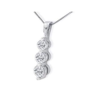 2ct Three Diamond Drop Style Diamond Pendant In 14k White Gold