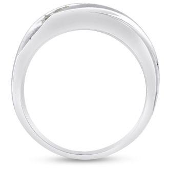 Men's 1/2ct Diamond Ring In 14K White Gold, G-H, I2-I3