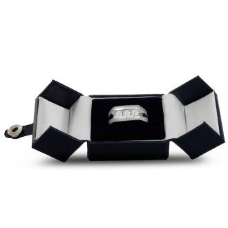 Men's 1ct Diamond Ring In 10K White Gold, G-H, I2-I3