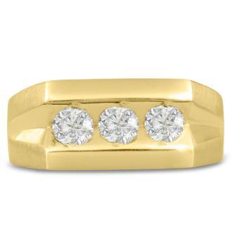 Men's 1ct Diamond Ring In 10K Yellow Gold, G-H, I2-I3
