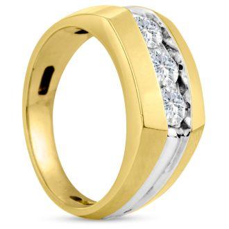 Men's 3/4ct Diamond Ring In 10K Two-Tone Gold, G-H, I2-I3