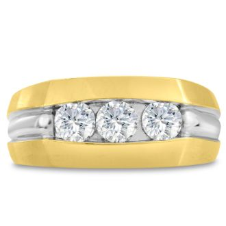 Men's 3/4ct Diamond Ring In 14K Two-Tone Gold, I-J-K, I1-I2