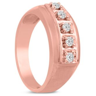 Men's 1/4ct Diamond Ring In 14K Rose Gold, I-J-K, I1-I2