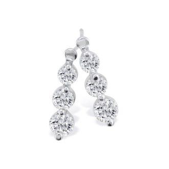 1/4ct Three Diamond Drop Style Diamond Earrings In 14k White Gold
