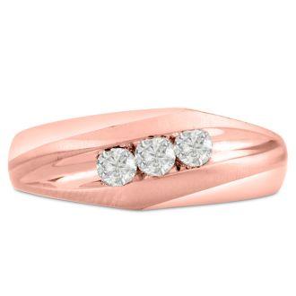 Men's 1/3ct Diamond Ring In 14K Rose Gold, I-J-K, I1-I2