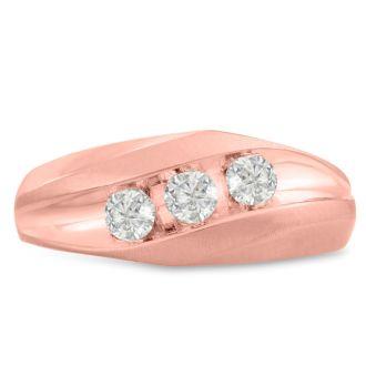Men's 3/4ct Diamond Ring In 10K Rose Gold, G-H, I2-I3
