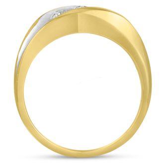 Men's 3/4ct Diamond Ring In 14K Two-Tone Gold, G-H, I2-I3